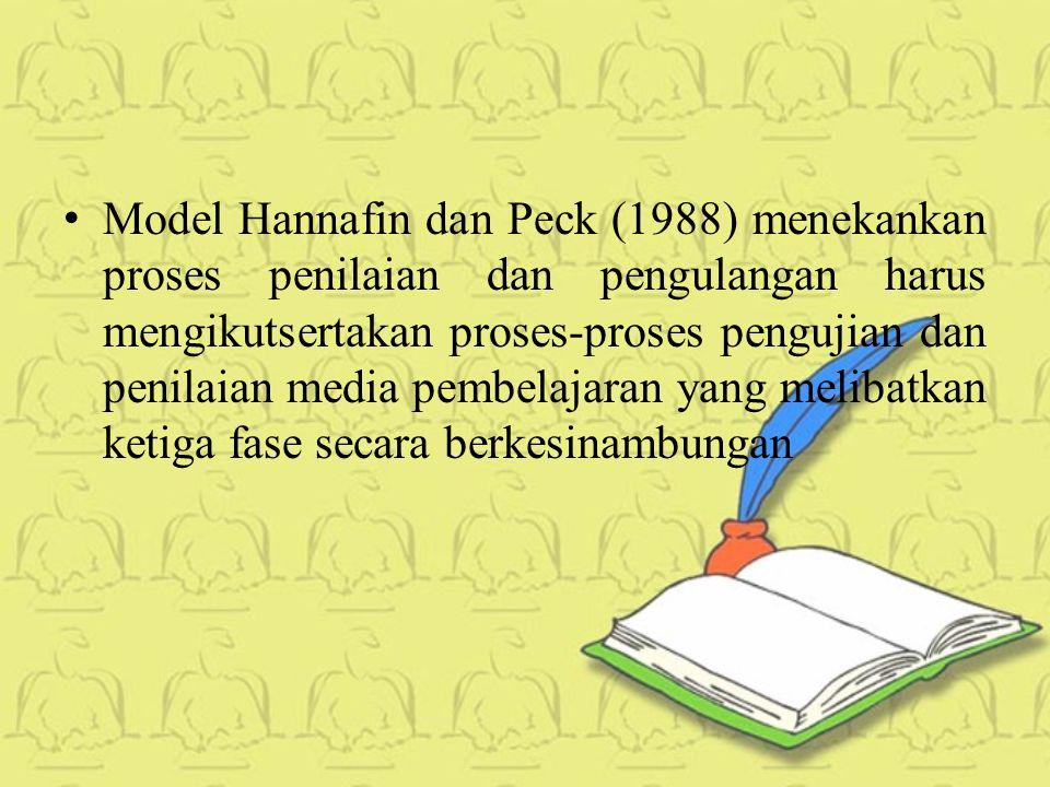 Model Hannafin dan Peck (1988) menekankan proses penilaian dan pengulangan harus mengikutsertakan proses-proses pengujian dan penilaian media pembelajaran yang melibatkan ketiga fase secara berkesinambungan