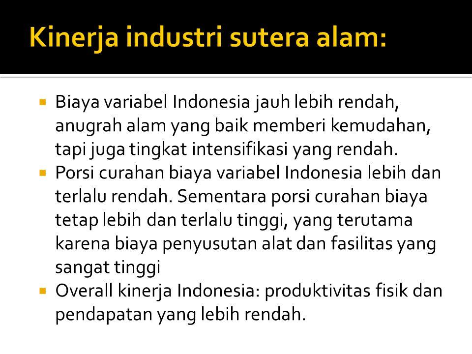  Biaya variabel Indonesia jauh lebih rendah, anugrah alam yang baik memberi kemudahan, tapi juga tingkat intensifikasi yang rendah.