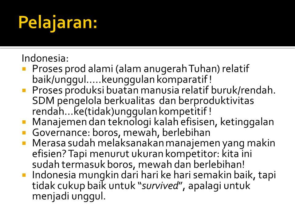Indonesia:  Proses prod alami (alam anugerah Tuhan) relatif baik/unggul.....keunggulan komparatif .