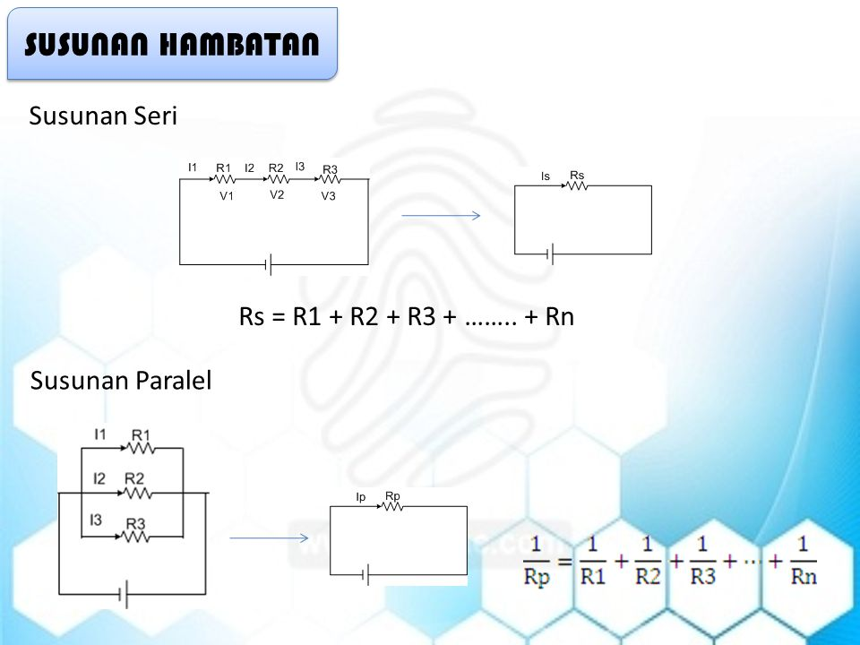SUSUNAN HAMBATAN Susunan Seri Rs = R1 + R2 + R3 + …….. + Rn Susunan Paralel