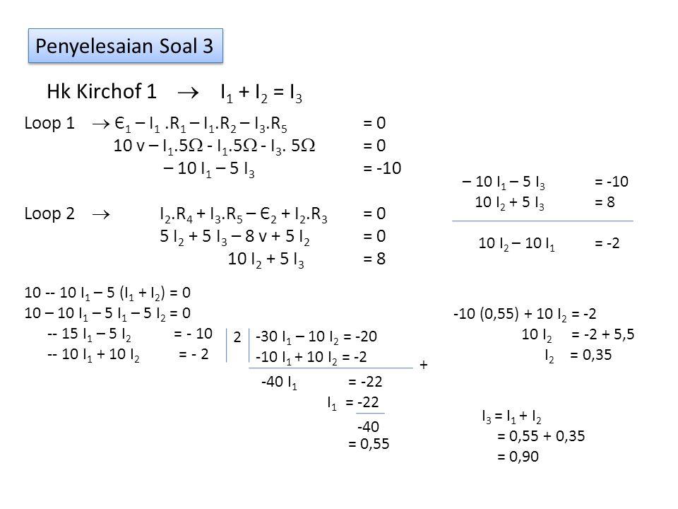 Penyelesaian Soal 3 Hk Kirchof 1  I 1 + I 2 = I 3 Loop 1  Є 1 – I 1.R 1 – I 1.R 2 – I 3.R 5 = 0 10 v – I 1.5  - I 1.5  - I 3. 5  = 0 – 10 I 1 – 5