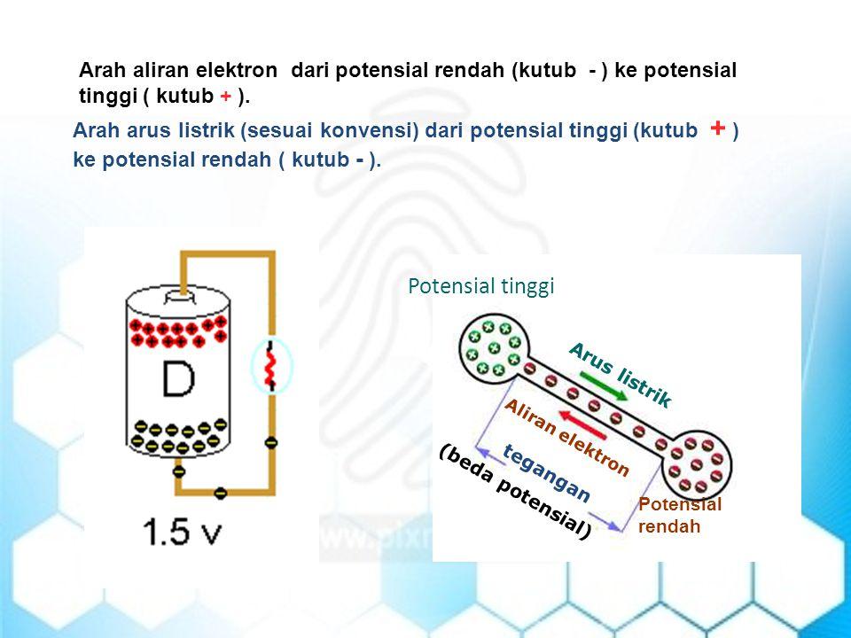 Arah arus listrik (sesuai konvensi) dari potensial tinggi (kutub + ) ke potensial rendah ( kutub - ). Arah aliran elektron dari potensial rendah (kutu