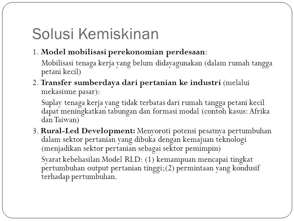Solusi Kemiskinan 1. Model mobilisasi perekonomian perdesaan: Mobilisasi tenaga kerja yang belum didayagunakan (dalam rumah tangga petani kecil) 2. Tr