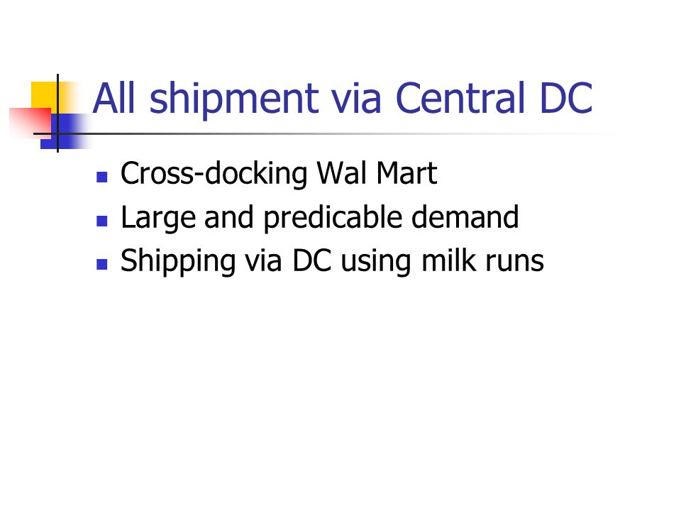 All shipment via Central DC Cross-docking Wal Mart Large and predicable demand Shipping via DC using milk runs