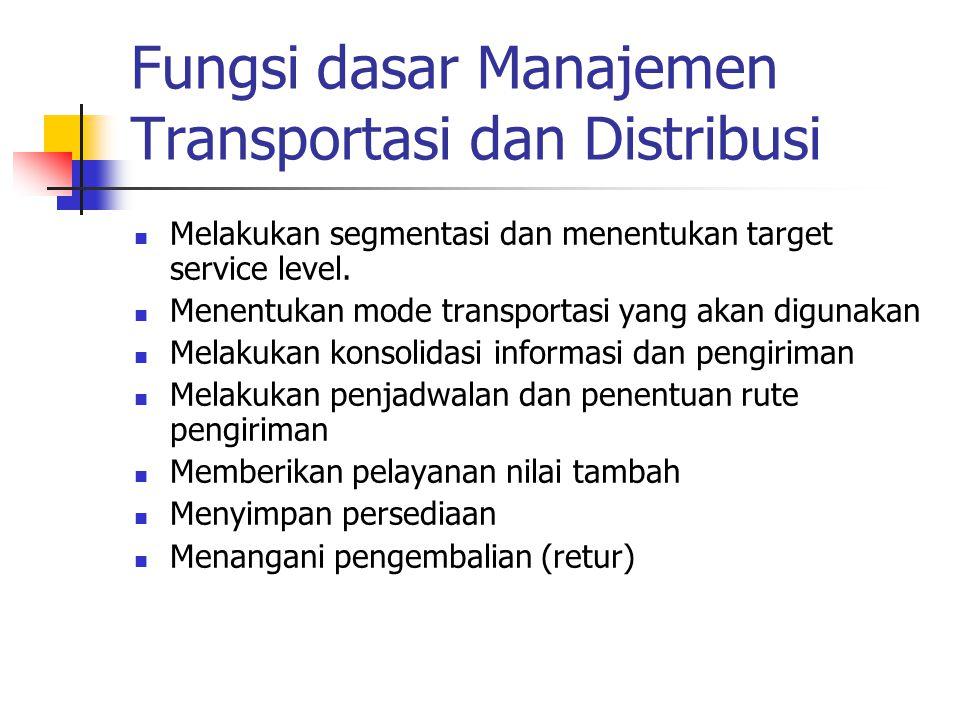 Fungsi dasar Manajemen Transportasi dan Distribusi Melakukan segmentasi dan menentukan target service level. Menentukan mode transportasi yang akan di