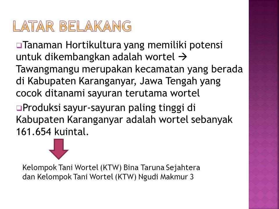  Tanaman Hortikultura yang memiliki potensi untuk dikembangkan adalah wortel  Tawangmangu merupakan kecamatan yang berada di Kabupaten Karanganyar,