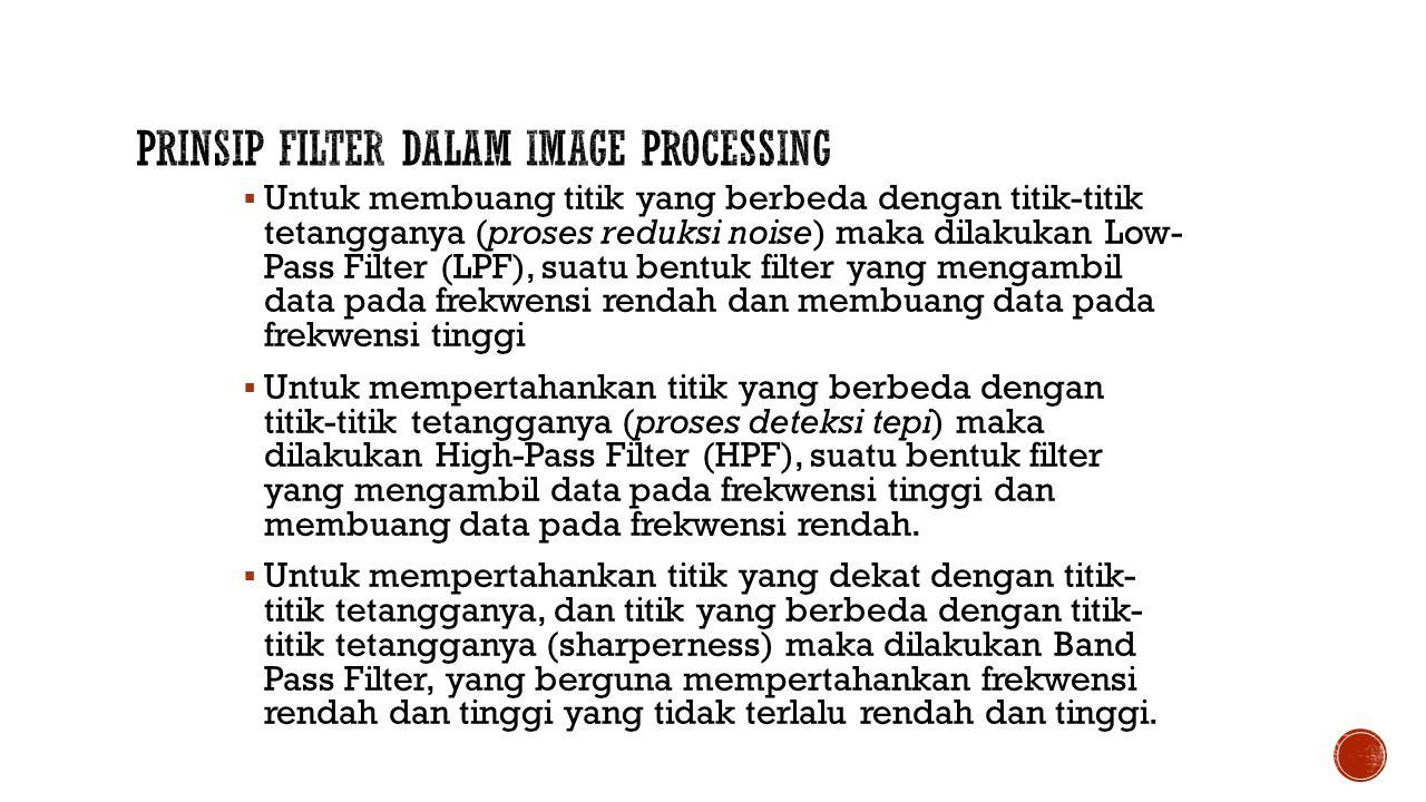  Untuk membuang titik yang berbeda dengan titik-titik tetangganya (proses reduksi noise) maka dilakukan Low- Pass Filter (LPF), suatu bentuk filter y