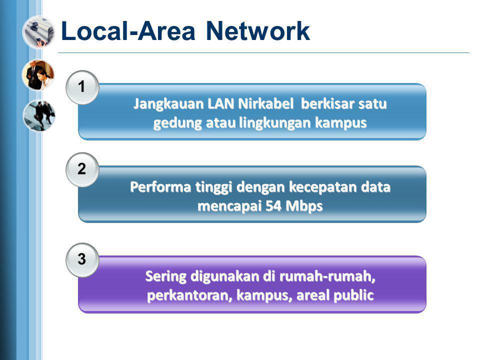 Local-Area Network 1 Jangkauan LAN Nirkabel berkisar satu gedung atau lingkungan kampus 2 Performa tinggi dengan kecepatan data mencapai 54 Mbps 3 Ser