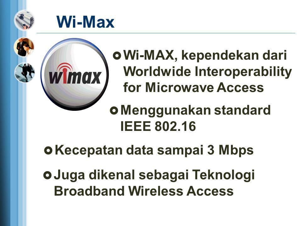 Wi-Max  Wi-MAX, kependekan dari Worldwide Interoperability for Microwave Access  Juga dikenal sebagai Teknologi Broadband Wireless Access  Mengguna