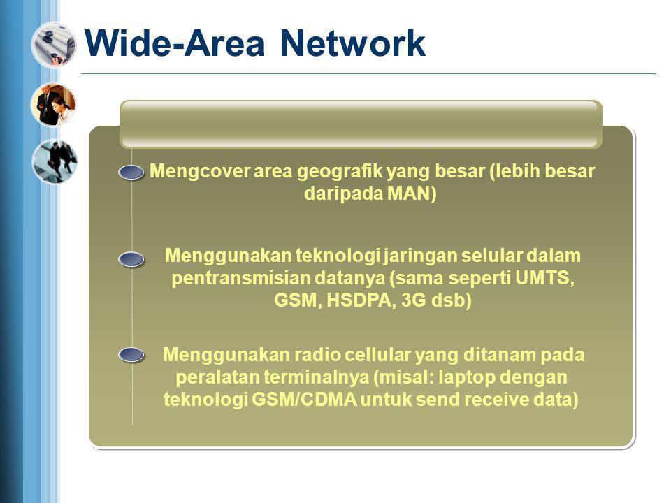 Wide-Area Network Mengcover area geografik yang besar (lebih besar daripada MAN) Menggunakan teknologi jaringan selular dalam pentransmisian datanya (