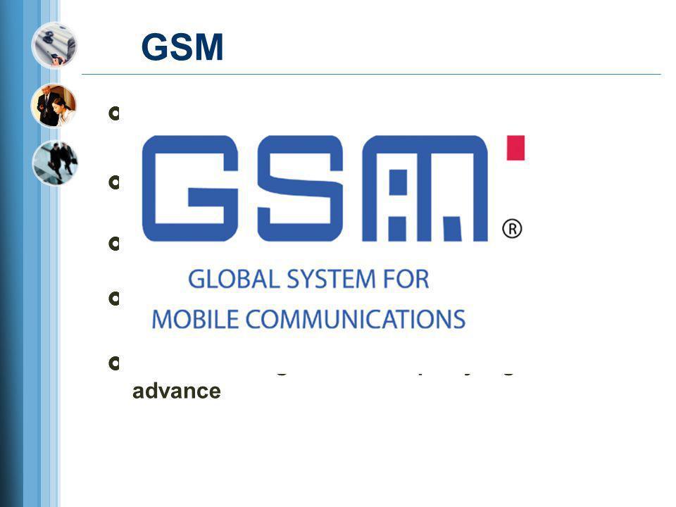 GSM  Awalnya bernama Groupe Speciale Mobile pada tahun 1982  1991 diluncurkan dengan nama Global System for Mobile Comunication  Memiliki daya jang