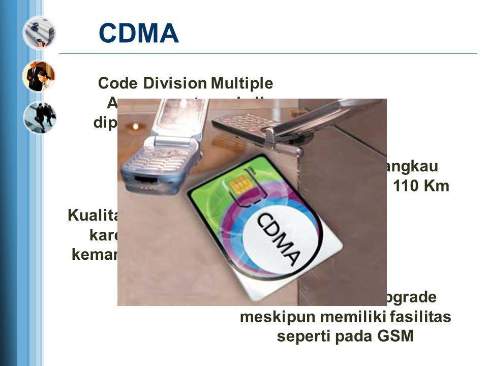 CDMA Code Division Multiple Access pertama kali diperkenalkan 1990 dari Amerika Memiliki daya jangkau mencapai hingga 110 Km Kualitas suara sangat bag
