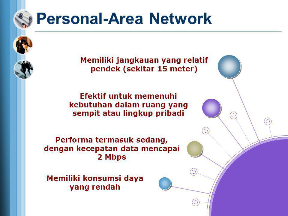 Personal-Area Network Memiliki jangkauan yang relatif pendek (sekitar 15 meter) Efektif untuk memenuhi kebutuhan dalam ruang yang sempit atau lingkup
