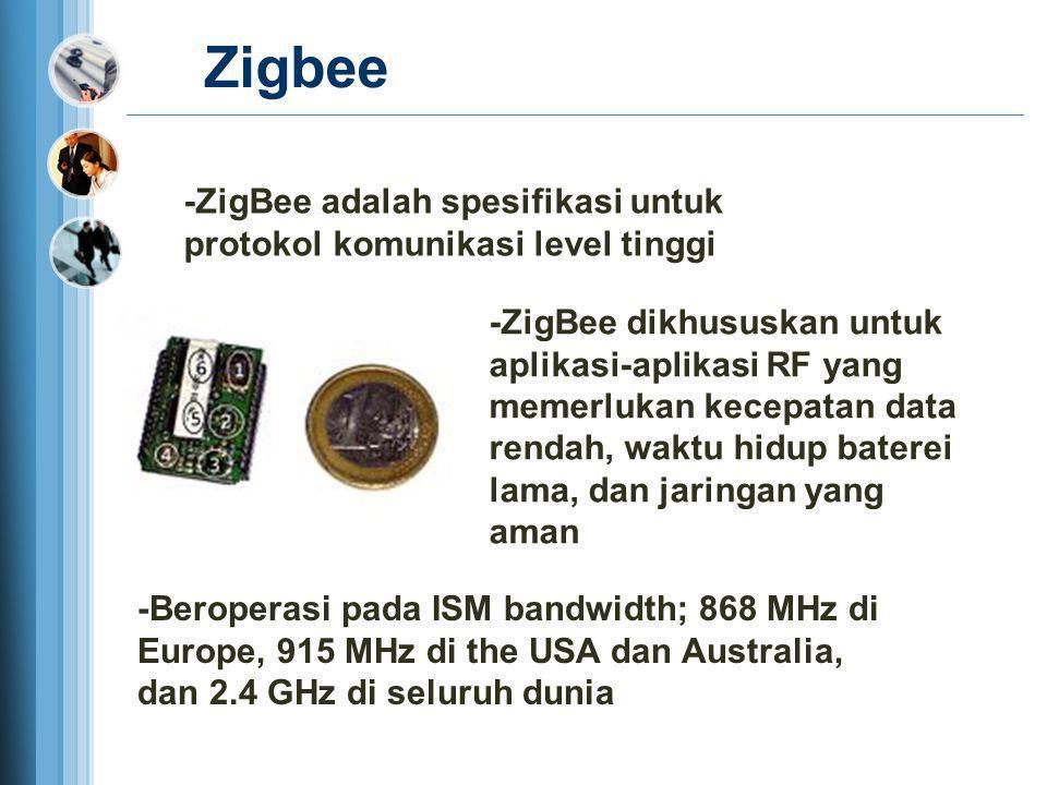 Zigbee -ZigBee dikhususkan untuk aplikasi-aplikasi RF yang memerlukan kecepatan data rendah, waktu hidup baterei lama, dan jaringan yang aman -ZigBee