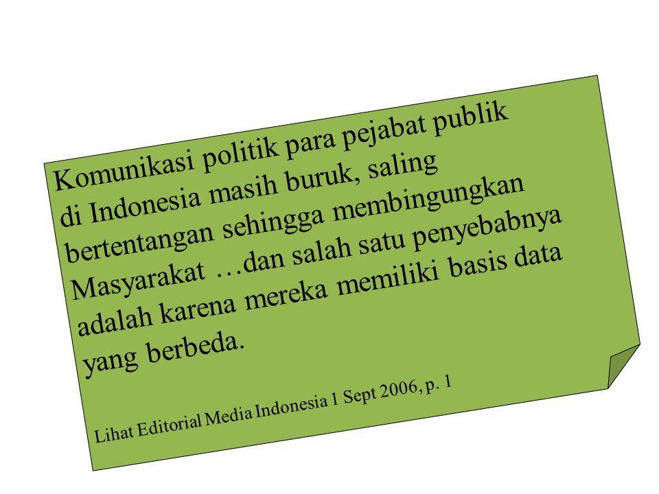 Komunikasi politik para pejabat publik di Indonesia masih buruk, saling bertentangan sehingga membingungkan Masyarakat …dan salah satu penyebabnya adalah karena mereka memiliki basis data yang berbeda.
