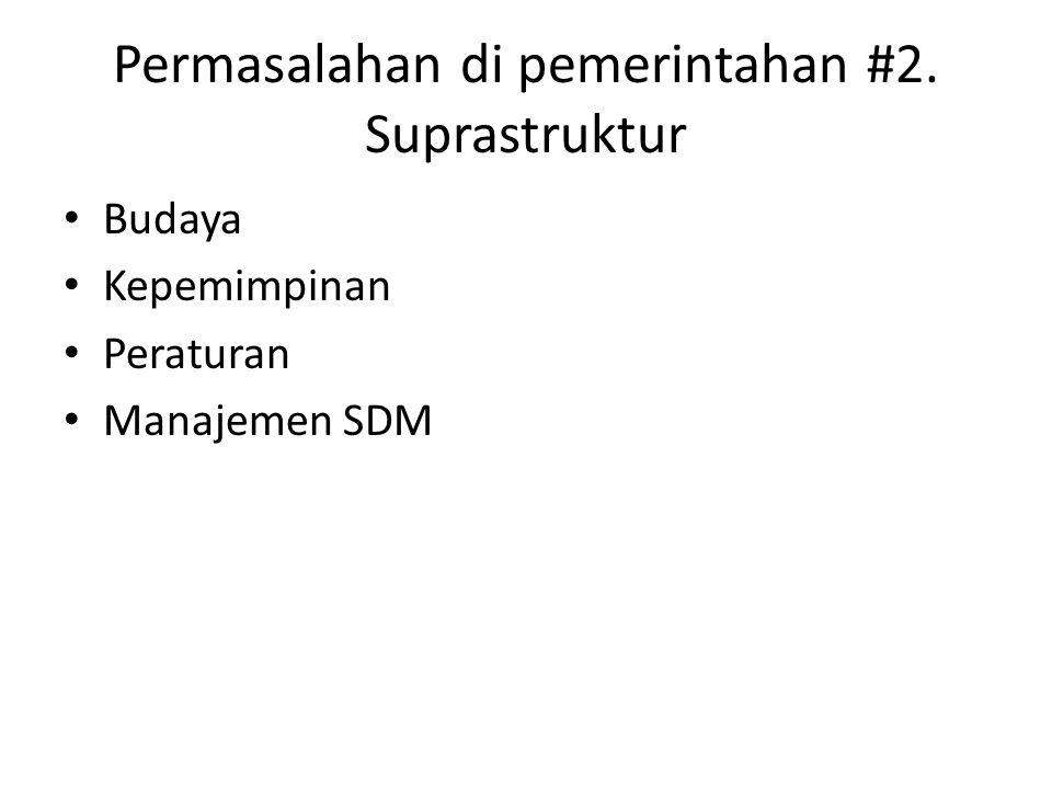 Permasalahan di pemerintahan #2. Suprastruktur Budaya Kepemimpinan Peraturan Manajemen SDM