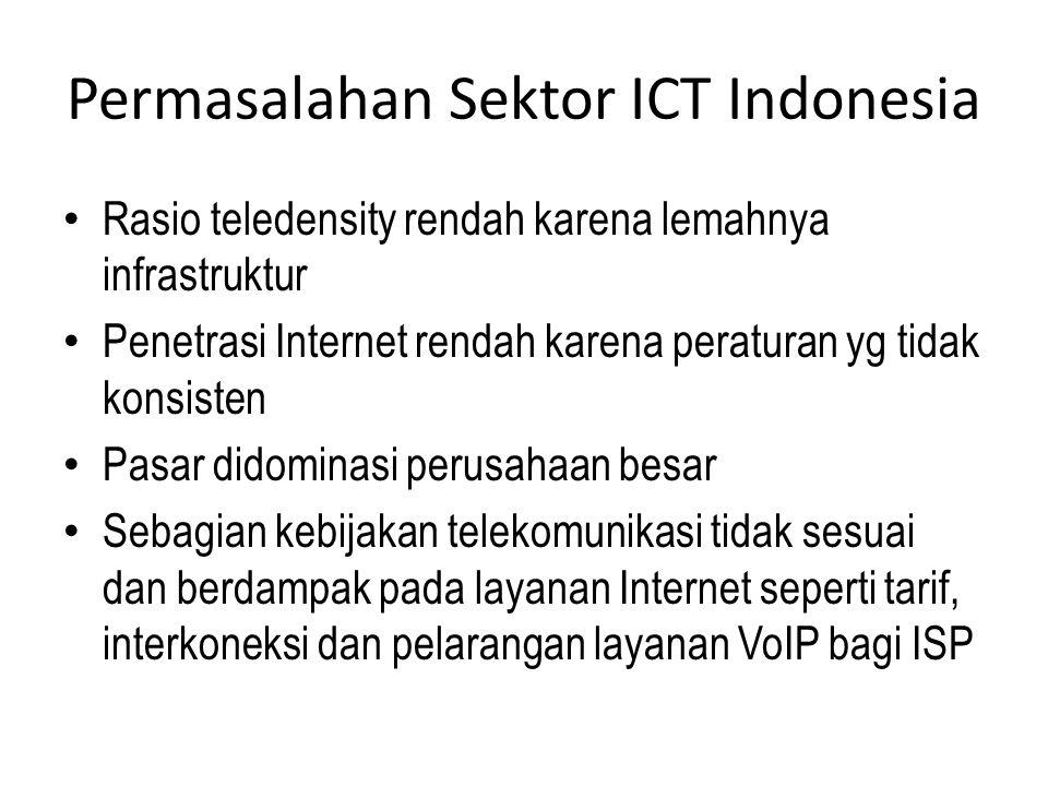 Permasalahan Sektor ICT Indonesia Rasio teledensity rendah karena lemahnya infrastruktur Penetrasi Internet rendah karena peraturan yg tidak konsisten