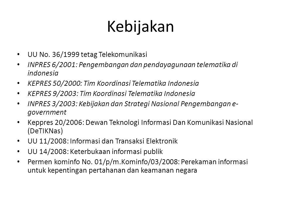 Kebijakan UU No. 36/1999 tetag Telekomunikasi INPRES 6/2001: Pengembangan dan pendayagunaan telematika di indonesia KEPRES 50/2000: Tim Koordinasi Tel