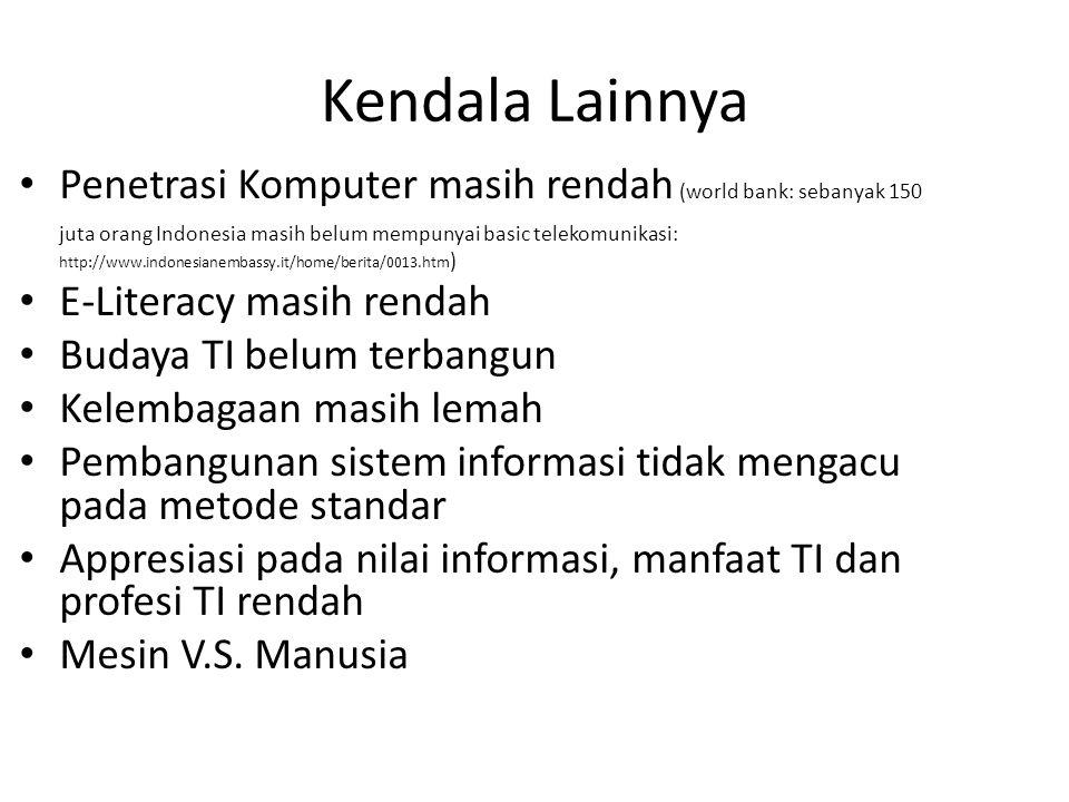 Kendala Lainnya Penetrasi Komputer masih rendah (world bank: sebanyak 150 juta orang Indonesia masih belum mempunyai basic telekomunikasi: http://www.indonesianembassy.it/home/berita/0013.htm ) E-Literacy masih rendah Budaya TI belum terbangun Kelembagaan masih lemah Pembangunan sistem informasi tidak mengacu pada metode standar Appresiasi pada nilai informasi, manfaat TI dan profesi TI rendah Mesin V.S.