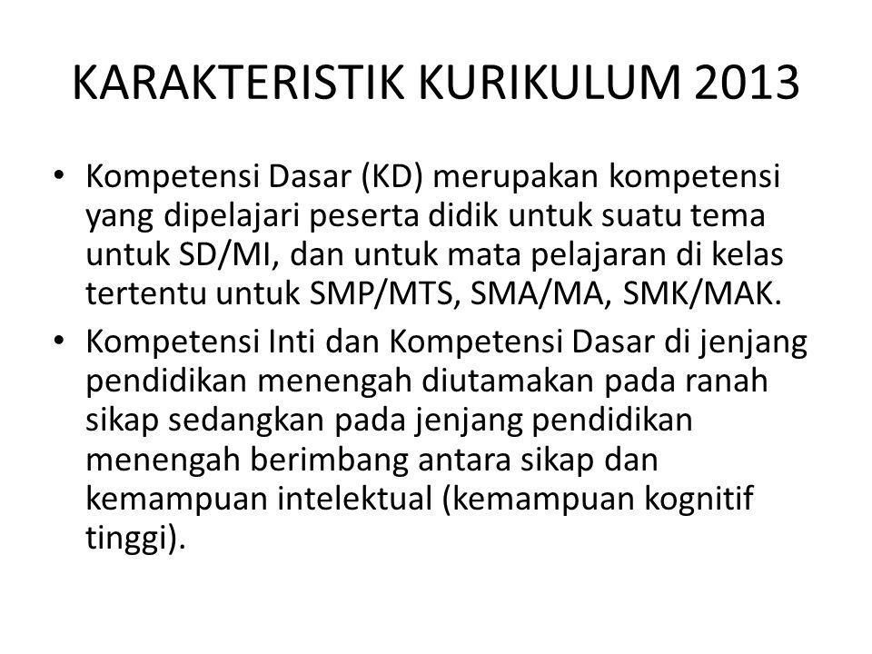 KARAKTERISTIK KURIKULUM 2013 Kompetensi Dasar (KD) merupakan kompetensi yang dipelajari peserta didik untuk suatu tema untuk SD/MI, dan untuk mata pel