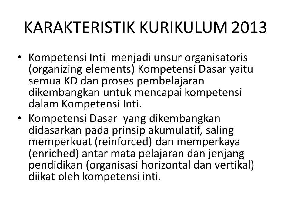 KARAKTERISTIK KURIKULUM 2013 Kompetensi Inti menjadi unsur organisatoris (organizing elements) Kompetensi Dasar yaitu semua KD dan proses pembelajaran