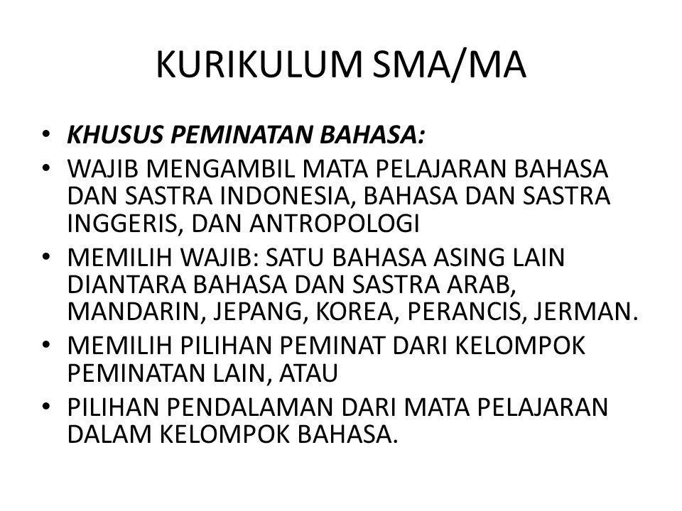 KURIKULUM SMA/MA KHUSUS PEMINATAN BAHASA: WAJIB MENGAMBIL MATA PELAJARAN BAHASA DAN SASTRA INDONESIA, BAHASA DAN SASTRA INGGERIS, DAN ANTROPOLOGI MEMI