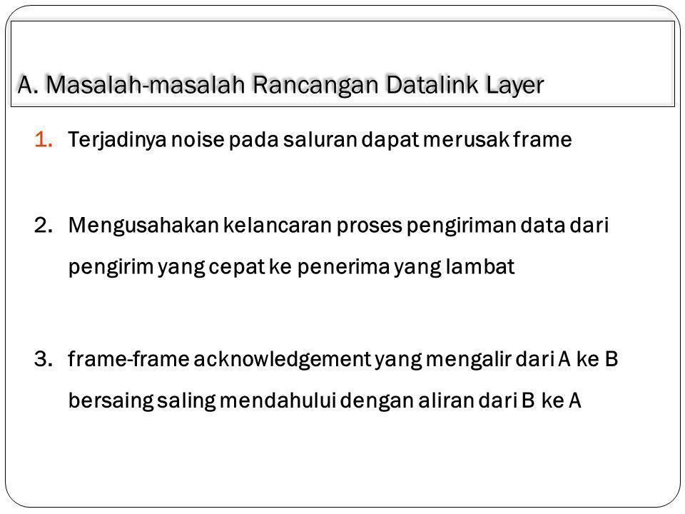 A. Masalah-masalah Rancangan Datalink Layer 1.Terjadinya noise pada saluran dapat merusak frame 2.Mengusahakan kelancaran proses pengiriman data dari