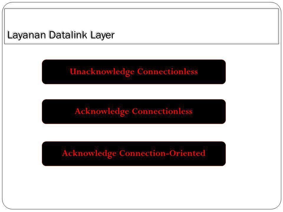 Unacknowledged Connectionless Komputer sumbermengirimkan sejumlah frame ke komputer lain tanpa memberikan acknowledgedment bagi frame-frame yang diterima.