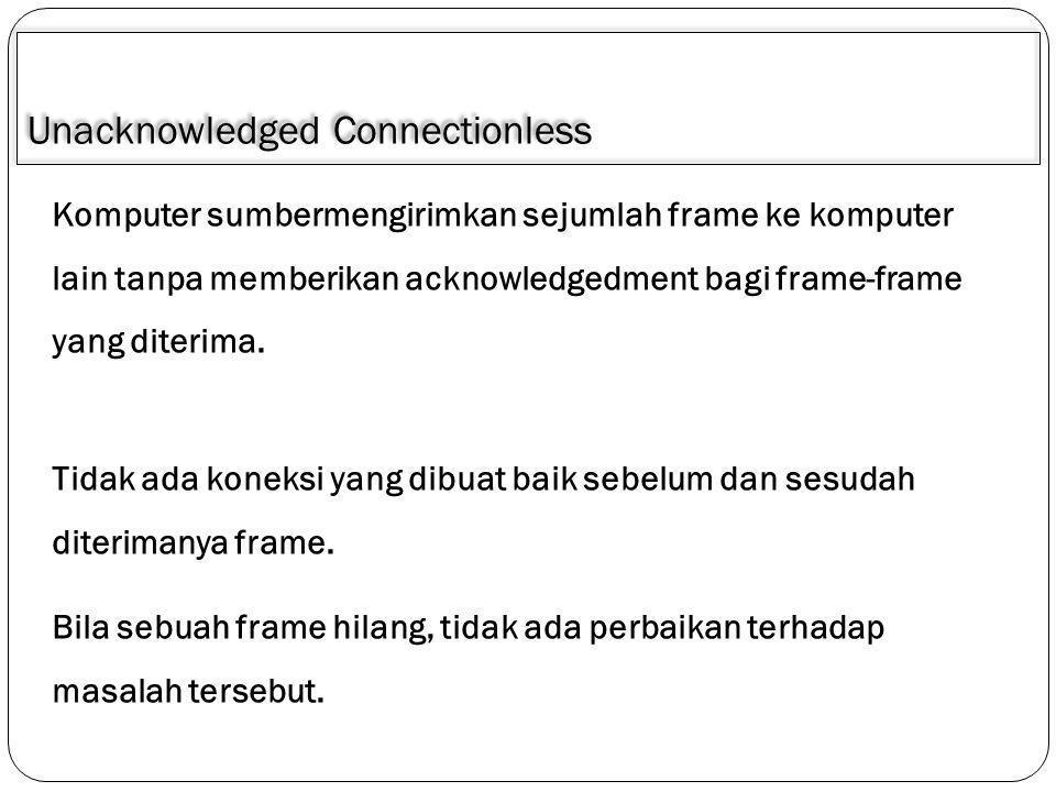 Acknowledged Connectionless Berkaitan dengan masalah realibitas Tidak ada koneksi yang dibuat baik sebelum dan sesudah diterimanya frame.
