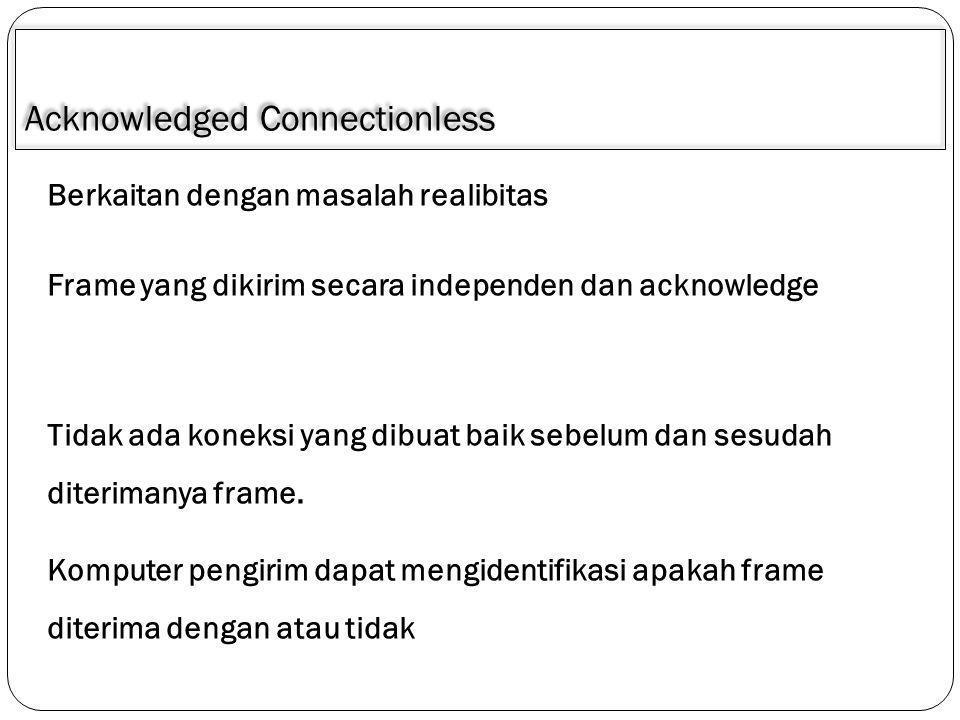 Acknowledged Connectionless Berkaitan dengan masalah realibitas Tidak ada koneksi yang dibuat baik sebelum dan sesudah diterimanya frame. Komputer pen