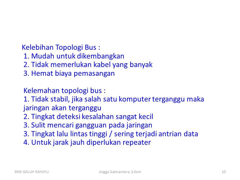 Kelebihan Topologi Bus : 1. Mudah untuk dikembangkan 2. Tidak memerlukan kabel yang banyak 3. Hemat biaya pemasangan Kelemahan topologi bus : 1. Tidak
