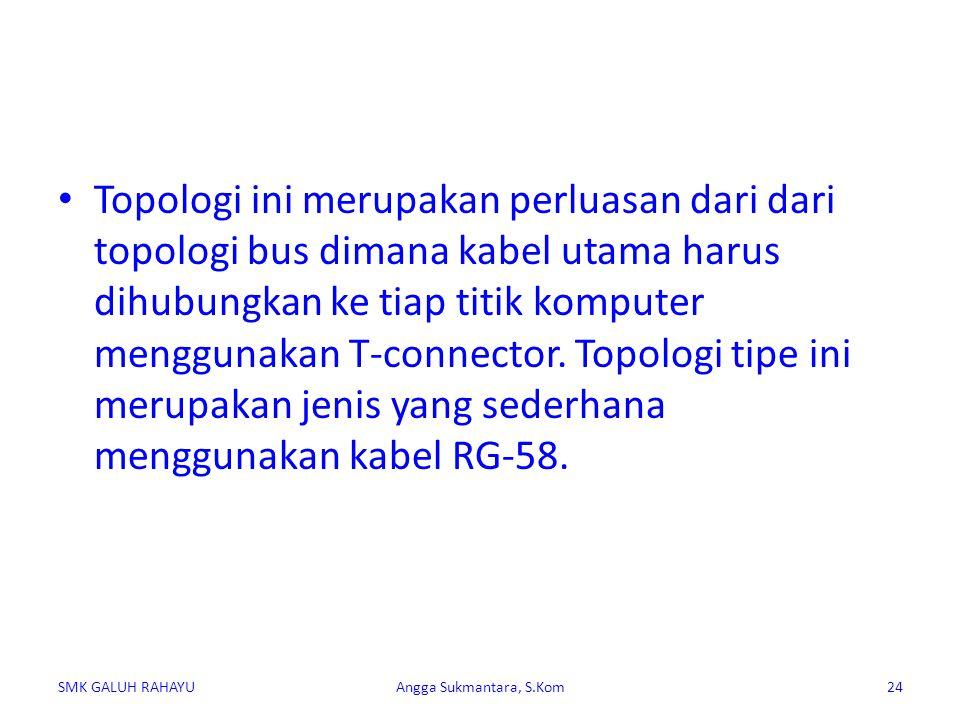 Topologi ini merupakan perluasan dari dari topologi bus dimana kabel utama harus dihubungkan ke tiap titik komputer menggunakan T-connector. Topologi