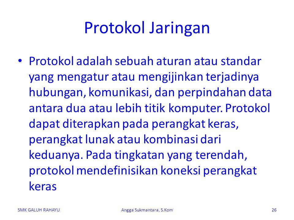 Protokol Jaringan Protokol adalah sebuah aturan atau standar yang mengatur atau mengijinkan terjadinya hubungan, komunikasi, dan perpindahan data anta