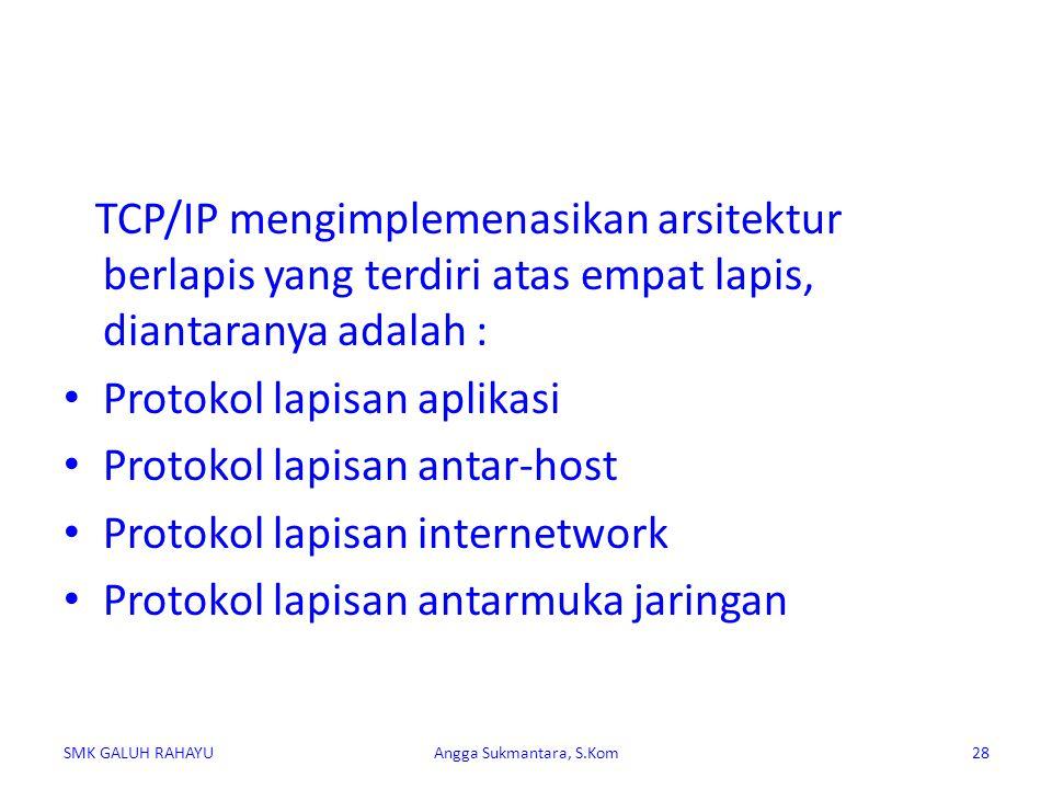 TCP/IP mengimplemenasikan arsitektur berlapis yang terdiri atas empat lapis, diantaranya adalah : Protokol lapisan aplikasi Protokol lapisan antar-hos