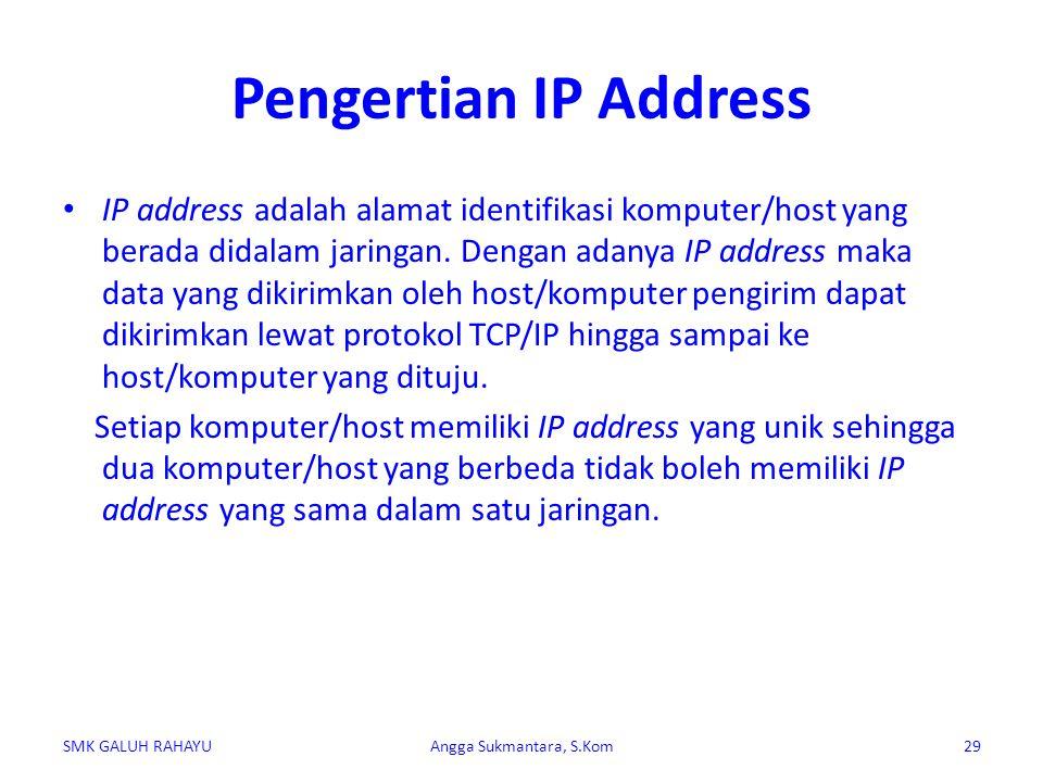 Pengertian IP Address IP address adalah alamat identifikasi komputer/host yang berada didalam jaringan. Dengan adanya IP address maka data yang dikiri