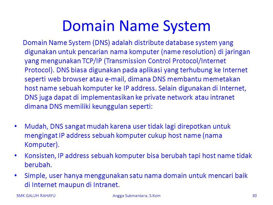 Domain Name System Domain Name System (DNS) adalah distribute database system yang digunakan untuk pencarian nama komputer (name resolution) di jaring