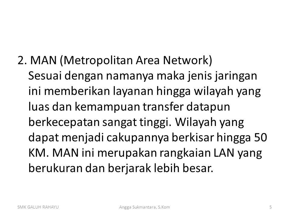 2. MAN (Metropolitan Area Network) Sesuai dengan namanya maka jenis jaringan ini memberikan layanan hingga wilayah yang luas dan kemampuan transfer da