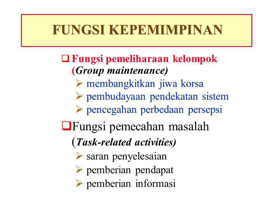  The process of directing and influencing the task-related activities of group members PENGERTIAN KEPEMIMPINAN  (Proses pengarahan dan pemberian pengaruh kepada kegiatan yang menyangkut tugas anggota kelompoknya)