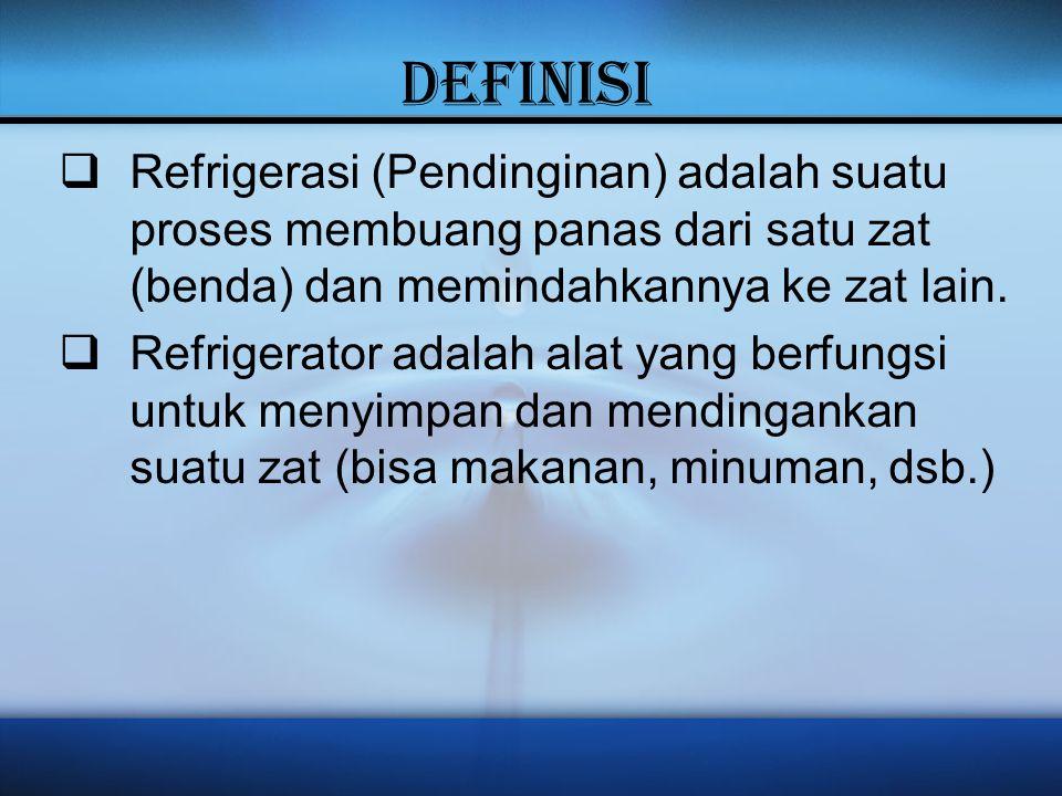 DEFINISI  Refrigerasi (Pendinginan) adalah suatu proses membuang panas dari satu zat (benda) dan memindahkannya ke zat lain.  Refrigerator adalah al