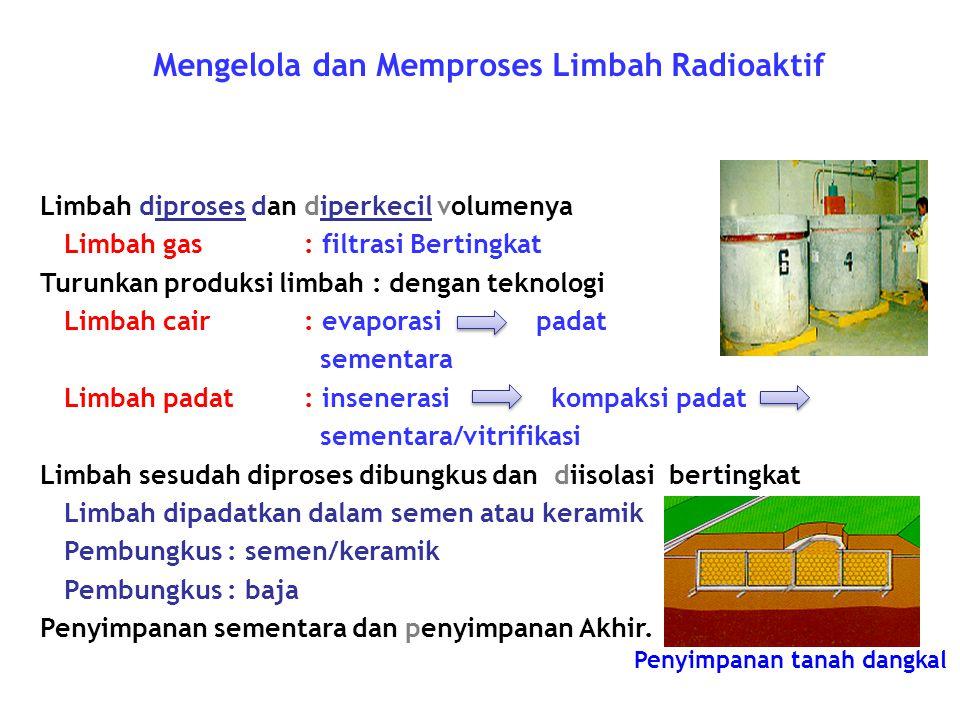 Mengelola dan Memproses Limbah Radioaktif Limbah diproses dan diperkecil volumenya Limbah gas : filtrasi Bertingkat Turunkan produksi limbah : dengan