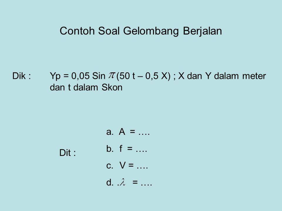 Contoh Soal Gelombang Berjalan Dik :Yp = 0,05 Sin (50 t – 0,5 X) ; X dan Y dalam meter dan t dalam Skon Dit : a. A = …. b. f = …. c. V = …. d.. = ….