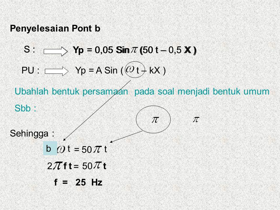 v Yp = A Sin ( 2 f.t – 2 f X ) Yp = 0,05 Sin (50 t – 0,5 X ) Penyelesaian Pont C PU : S : Ubahlah bentuk persamaan pada soal menjadi bentuk umum Sbb : Sehingga : c = 2 f X v 0,5 X 2f V= 0,5 = 2.25 0,5 = 1 0 0 Yp = 0,05 Sin (50 t – 0,5 X ) m/s Atau : Yp = A Sin ( t – k X ) V = k = 50 0,5 = 100 m/s