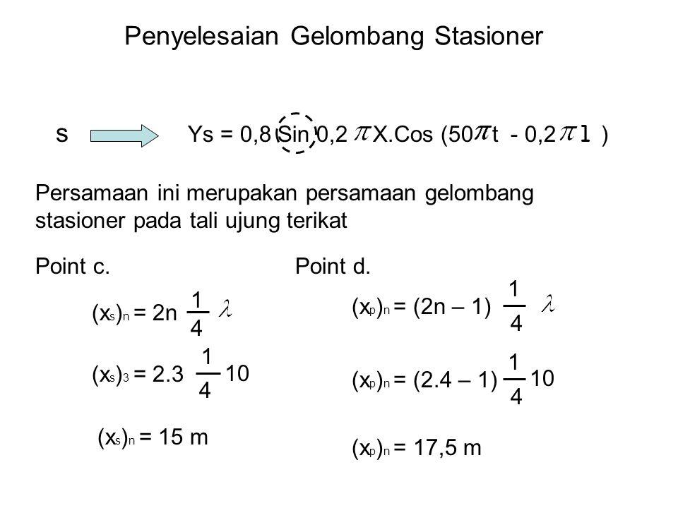 Penyelesaian Gelombang Stasioner Ys = 0,8 Sin 0,2 X.Cos (50 t - 0,2 l ) s Point c. Persamaan ini merupakan persamaan gelombang stasioner pada tali uju