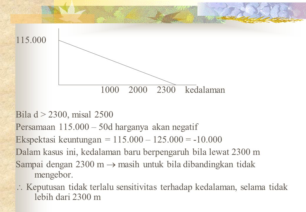 115.000 100020002300kedalaman Bila d > 2300, misal 2500 Persamaan 115.000 – 50d harganya akan negatif Ekspektasi keuntungan = 115.000 – 125.000 = -10.