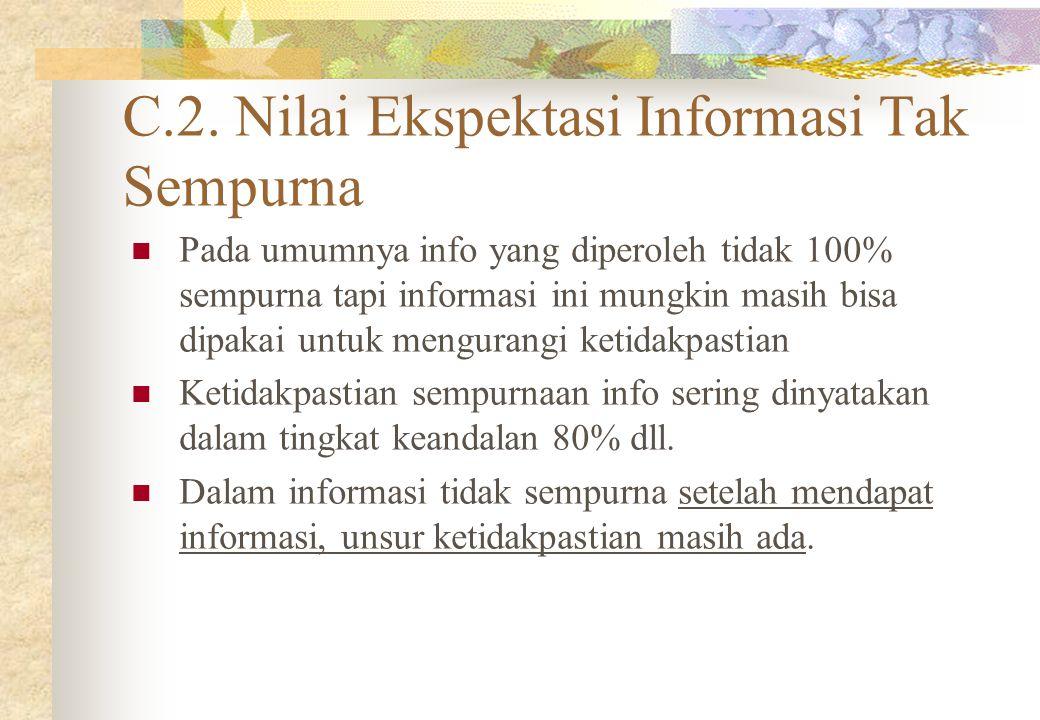 C.2. Nilai Ekspektasi Informasi Tak Sempurna Pada umumnya info yang diperoleh tidak 100% sempurna tapi informasi ini mungkin masih bisa dipakai untuk