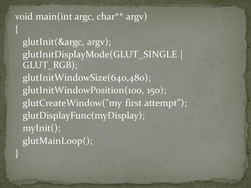 void main(int argc, char** argv) { glutInit(&argc, argv); glutInitDisplayMode(GLUT_SINGLE | GLUT_RGB); glutInitWindowSize(640,480); glutInitWindowPosition(100, 150); glutCreateWindow( my first attempt ); glutDisplayFunc(myDisplay); myInit(); glutMainLoop(); }
