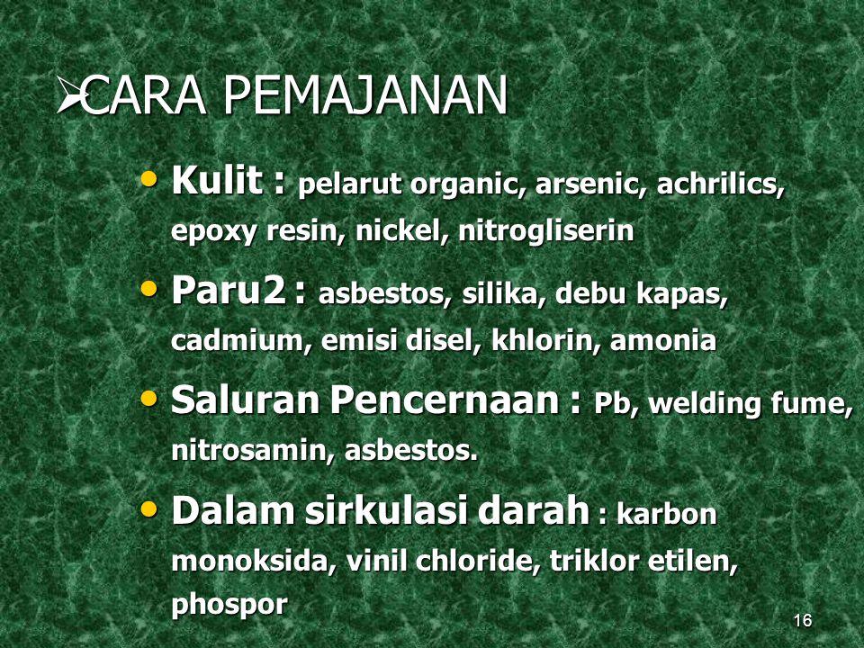16  CARA PEMAJANAN Kulit : pelarut organic, arsenic, achrilics, epoxy resin, nickel, nitrogliserin Kulit : pelarut organic, arsenic, achrilics, epoxy resin, nickel, nitrogliserin Paru2 : asbestos, silika, debu kapas, cadmium, emisi disel, khlorin, amonia Paru2 : asbestos, silika, debu kapas, cadmium, emisi disel, khlorin, amonia Saluran Pencernaan : Pb, welding fume, nitrosamin, asbestos.