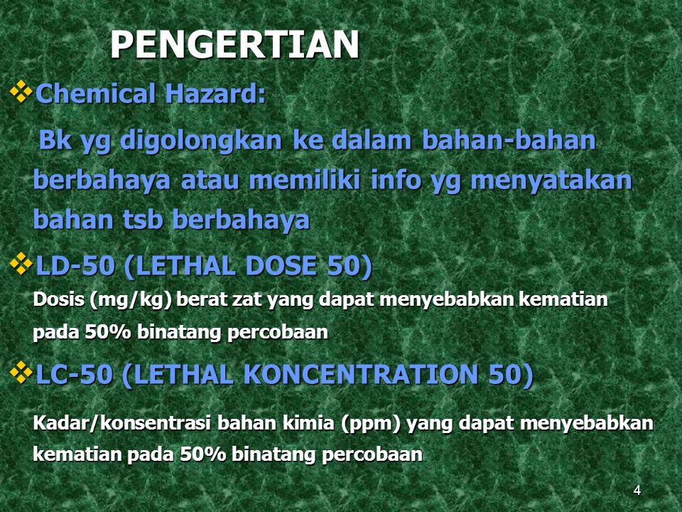 4 PENGERTIAN  Chemical Hazard: Bk yg digolongkan ke dalam bahan-bahan berbahaya atau memiliki info yg menyatakan bahan tsb berbahaya Bk yg digolongkan ke dalam bahan-bahan berbahaya atau memiliki info yg menyatakan bahan tsb berbahaya  LD-50 (LETHAL DOSE 50) Dosis (mg/kg) berat zat yang dapat menyebabkan kematian pada 50% binatang percobaan  LC-50 (LETHAL KONCENTRATION 50) Kadar/konsentrasi bahan kimia (ppm) yang dapat menyebabkan kematian pada 50% binatang percobaan