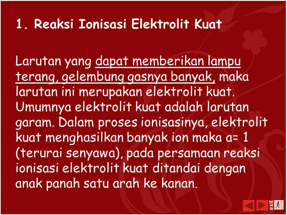 Reaksi Ionisasi larutan elektrolit dapat menghantarkan arus listrik disebabkan penguraian zat menjadi ion-ion penyusunnya (proses ionisasi) dalam pela