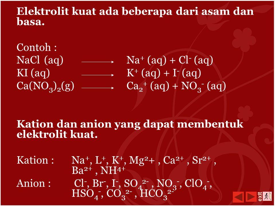 1. Reaksi Ionisasi Elektrolit Kuat Larutan yang dapat memberikan lampu terang, gelembung gasnya banyak, maka larutan ini merupakan elektrolit kuat. Um